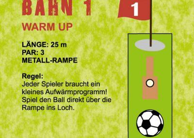 Jeder Spieler braucht ein kleines Aufwärmprogramm! Spiel sen Ball direkt über die Rampe ins Loch.