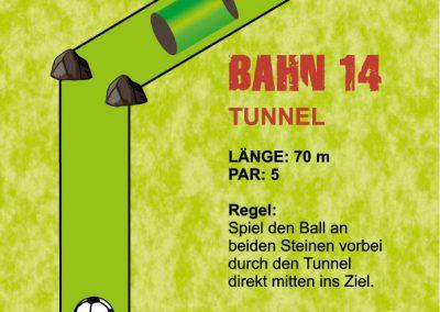 Spiel den Ball an den beiden Steinen vorbei durch den Tunnel direkt mitten ins Ziel.